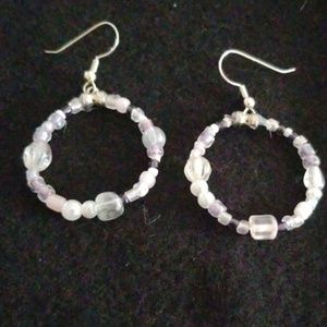 Circle Swarski & Glass Earrings